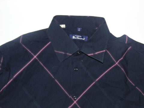 Ben Sherman black with pink checks shirt - xl mens, size 4 - S5573