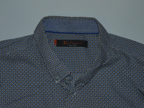 Ben Sherman blue arrows & spots pattern shirt - xl mens, slim fit - S5574