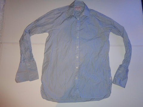"Thomas Pink blue stripes shirt 15.5"" / 35 mens - S5513-Classic Clothing Crib"