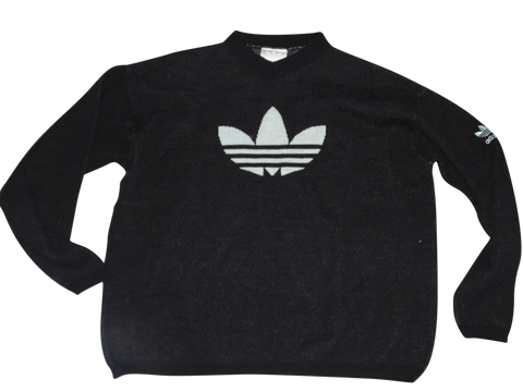 Mens Vintage Adidas wool jumper Large FORM TREFOIL ORGINALS - DLJ105-Classic Clothing Crib