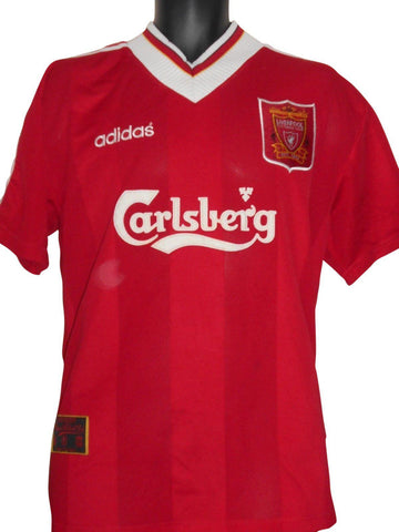 Liverpool Adidas vintage Home Shirt 1995-96 large mens PHIL BABB #6 #S628-Classic Clothing Crib