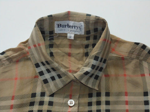 Burberrys Haymarket 100% silk beige plaid nova check blouse shirt, womens / ladies size 12 - S6216-Classic Clothing Crib