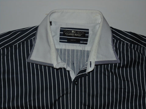 Claudio Lugli blue stripes shirt - xxxl mens, slim cut NEW - S5936-Classic Clothing Crib