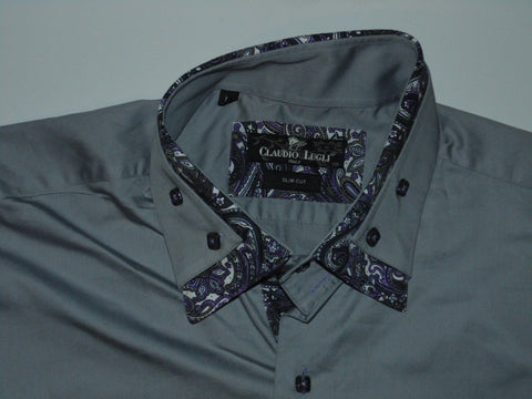 Claudio Lugli grey floral trim shirt - xxl mens, slim cut NEW - S5934-Classic Clothing Crib