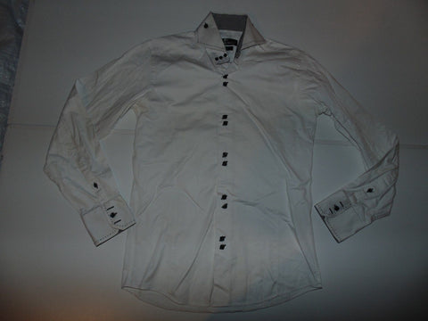 Claudio Lugli white shirt - small mens, slim cut - S5935-Classic Clothing Crib