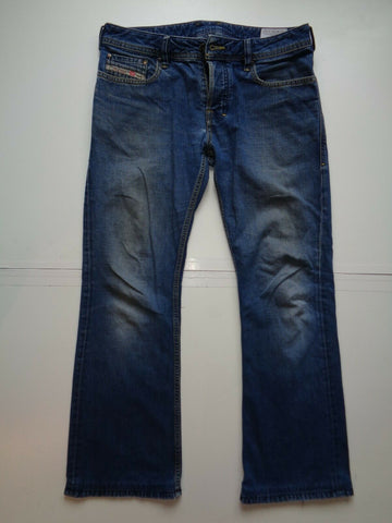 Diesel Zathan dark blue distressed jeans mens slim bootcut 008XY