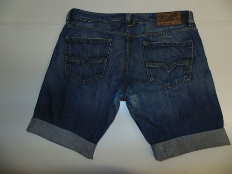 "Mens Diesel jeans shorts 36"" - faded blue denim festival #3361 LARKEE 008XR"