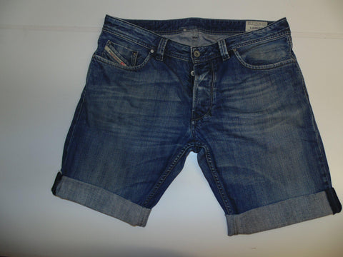 "Mens Diesel jeans shorts 36"" - faded blue denim festival #3362 LARKEE 008XR"