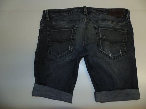 "Mens Diesel jeans shorts 34"" - dark blue denim festival #3301 THAVAR SLIM"