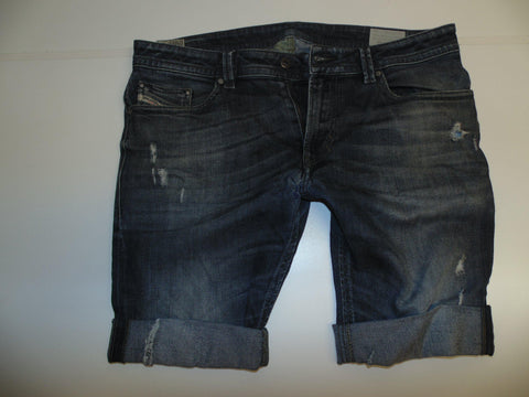 "Mens Diesel jeans shorts 34"" - dark blue denim festival #3302 THAVAR SLIM"