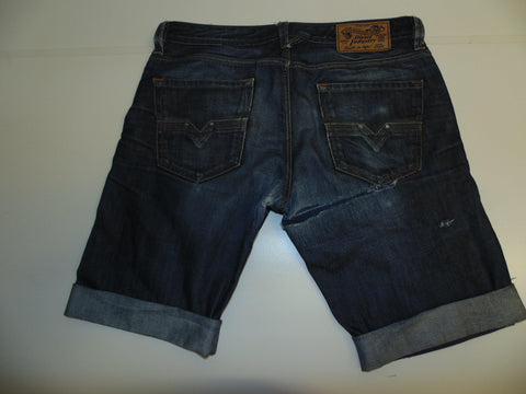 "Mens Diesel jeans shorts 33"" - dark blue denim festival #328 LARKEE1"