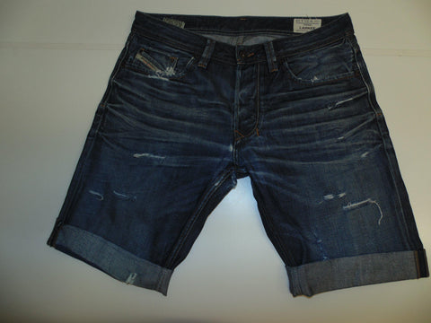 "Mens Diesel jeans shorts 33"" - dark blue denim festival #3282 LARKEE"