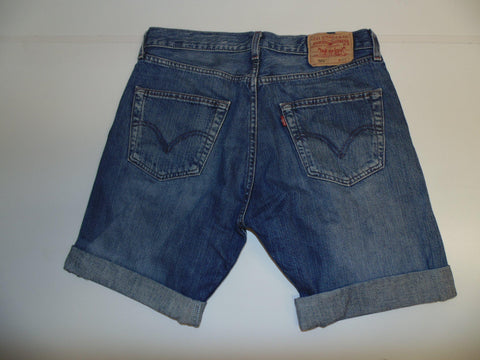 "Mens Levi's Strauss 501 jeans shorts 32"" - dark blue denim festival #3091"