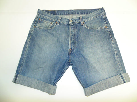"Mens Levi's Strauss 501 jeans shorts 32"" - dark blue denim festival #3092"