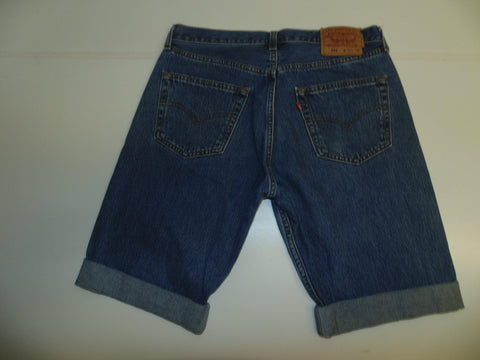 "Mens Levi's Strauss 501 jeans shorts 33"" - mid blue denim festival #3071"