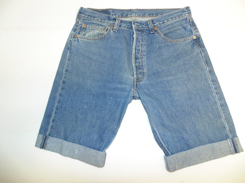 "Mens Levi's Strauss 501 jeans shorts 33"" - mid blue denim festival #3072"