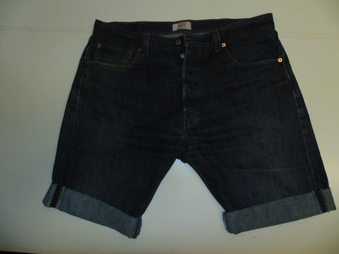 "Mens Levi's Strauss 501 jeans shorts 38"" - dark blue denim festival #3062"