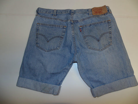 "Mens Levi's Strauss 501 jeans shorts 38"" - light blue denim festival #3051"