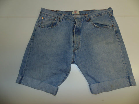 "Mens Levi's Strauss 501 jeans shorts 38"" - light blue denim festival #3052"