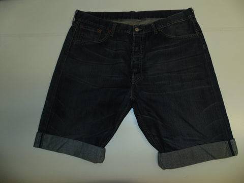 "Mens Levi's Strauss 501 jeans shorts 38"" - indigo dark blue denim festival #3042"