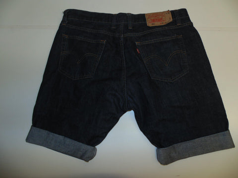"Mens Levi's Strauss 501 jeans shorts 38"" - indigo dark blue denim festival #3031"