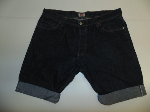"Mens Levi's Strauss 501 jeans shorts 38"" - indigo dark blue denim festival #3032"