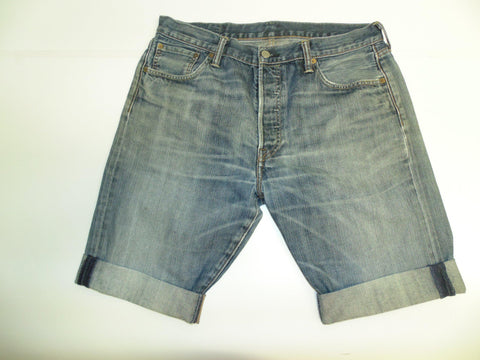 "Mens Levi's Strauss 501 jeans shorts 34"" - blue denim festival #2972"