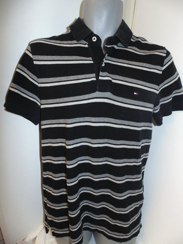 Tommy Hilfiger black polo shirt small mens custom fit -  #VS066
