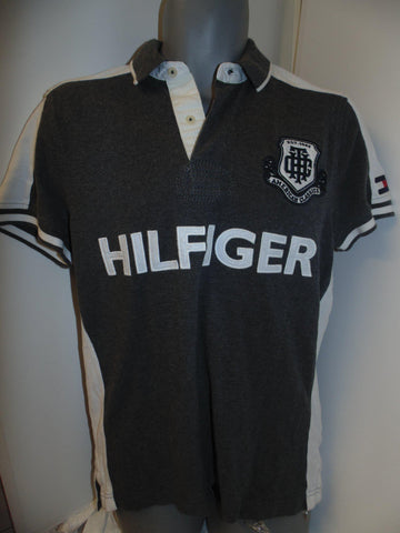 Tommy Hilfiger grey polo shirt small mens custom fit -  #VS065
