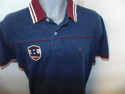 Tommy Hilfiger blue polo shirt Large mens custom fit -  #VS064