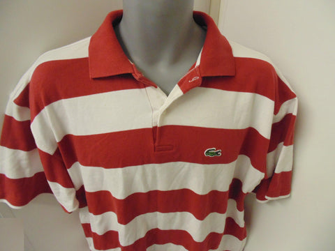 Lacoste red & white hoops polo shirt xxl mens - #VS033-Classic Clothing Crib