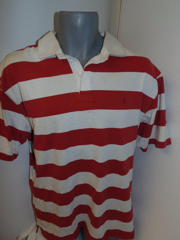 Ralph Lauren red & white hoops rugby shirt medium mens - #VS016-Classic Clothing Crib