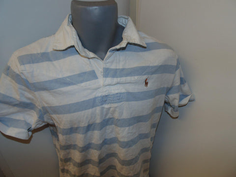 Ralph Lauren blue & white hoops rugby shirt small mens, custom fit - #VS015-Classic Clothing Crib