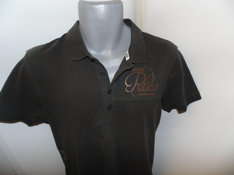 Police brown polo shirt medium mens, size 3 - #VS012-Classic Clothing Crib