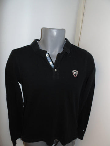 Tommy Hilfiger black long sleeves polo shirt small mens - #VS011-Classic Clothing Crib