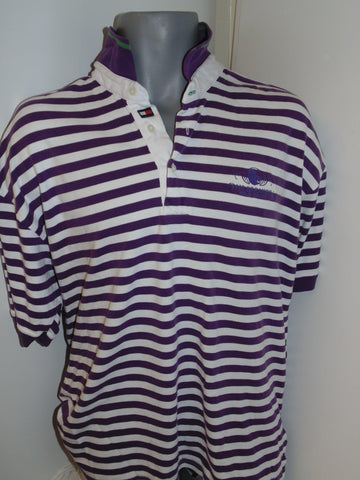 Tommy Hilfiger Golf purple hoops polo shirt large mens - #VS009-Classic Clothing Crib