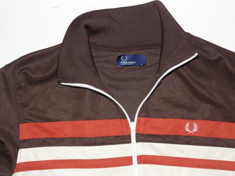 Fred Perry brown zip track jacket - large mens Casuals - #VS003-Classic Clothing Crib