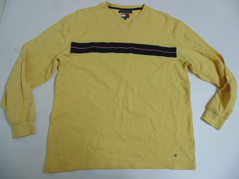 Mens Tommy Hilfiger yellow vneck  jumper xl / xg - DLS0011