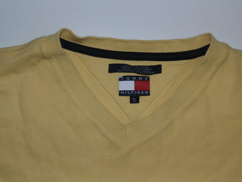 Mens Tommy Hilfiger yellow vneck  jumper xl / xg - DLS0012
