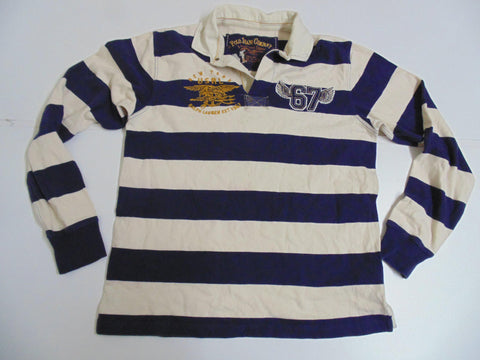 Ralph Lauren blue & white hoops rugby shirt, mens medium - DLR001-Classic Clothing Crib