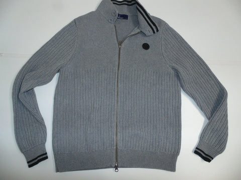 Fred Perry grey zip cardi / cardigan. small mens jumper - DLS0031