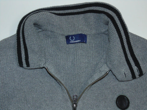 Fred Perry grey zip cardi / cardigan. small mens jumper - DLS003-Classic Clothing Crib