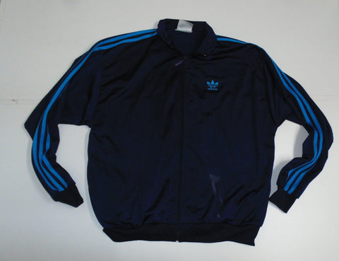 "Adidas navy blue polyester track jacket 42/44"" large mens - DLT0071"