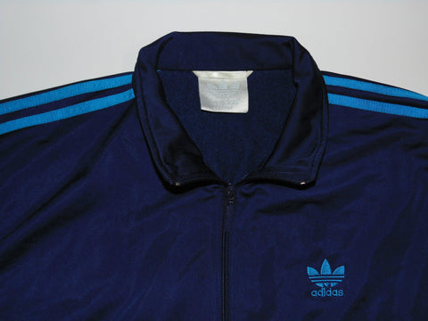 "Adidas navy blue polyester track jacket 42/44"" large mens - DLT0072"