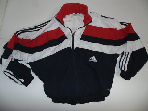 Adidas white & blue track jacket xl mens 90's - DLT009-Classic Clothing Crib