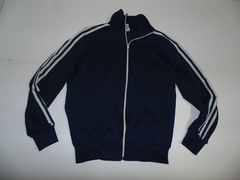 "Adidas navy blue polyester track jacket 5'9"" small mens 80's - DLT0041"