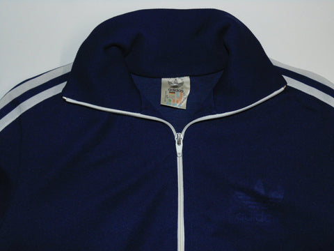 "Adidas navy blue polyester track jacket 5'9"" small mens 80's - DLT0042"