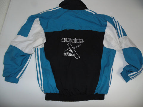 Adidas Training black & blue track jacket large mens 90's - DLT008-Classic Clothing Crib