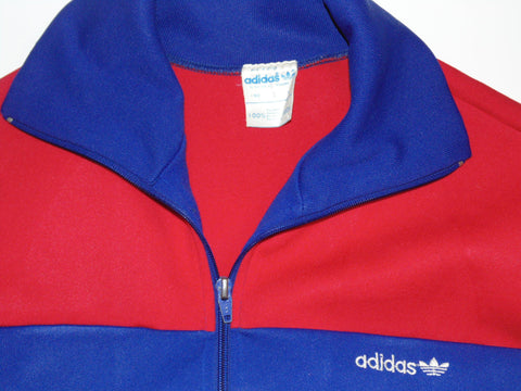 Vintage Adidas Blue 70s 80s Polyester Tracksut Jacket Bottoms