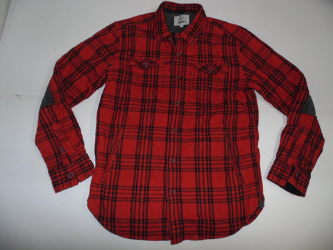 Levi Strauss red tartan checks trucker quilted jacket mens large - #DLJ005 FRONT